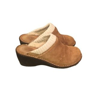 Uggs Slip on Mules Clogs Tan Suede
